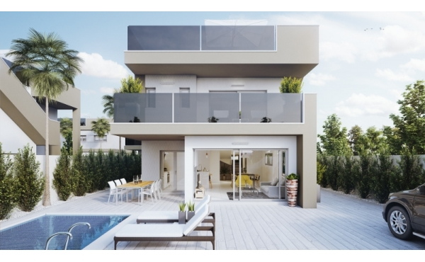 New high quality build villa in Torre de la Horadada with sea views and private pool